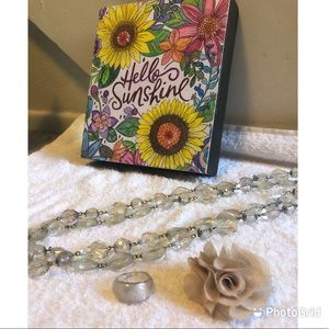 3for$15 Clear Plastic Necklace & Ring + Rose Ring